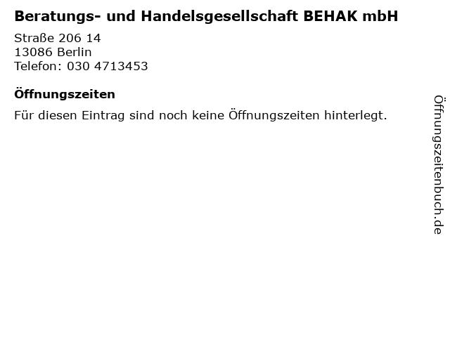 Beratungs- und Handelsgesellschaft BEHAK mbH in Berlin: Adresse und Öffnungszeiten