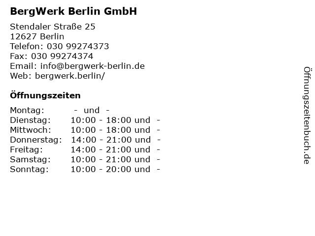 BergWerk Berlin GmbH in Berlin: Adresse und Öffnungszeiten