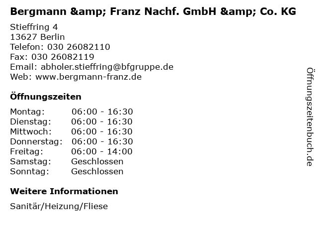 ᐅ Offnungszeiten Bergmann Franz Nachf Gmbh Co Kg