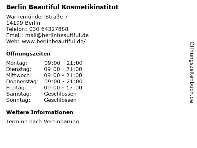 Berlin Beautiful Kosmetikinstitut in Berlin: Adresse und Öffnungszeiten