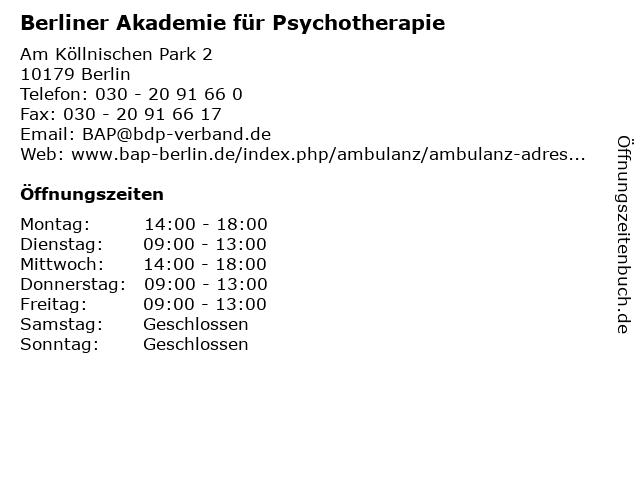 Berliner Akademie für Psychotherapie in Berlin: Adresse und Öffnungszeiten