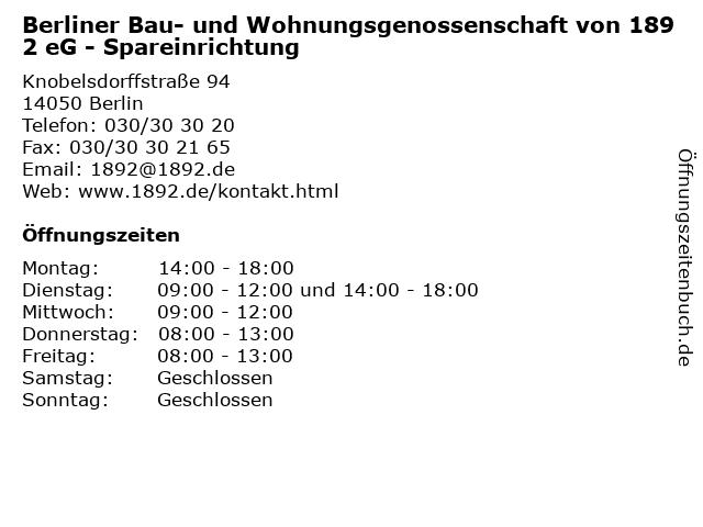 ᐅ öffnungszeiten Berliner Bau Und Wohnungsgenossenschaft Von 1892