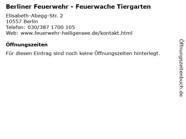Berliner Feuerwehr - Feuerwache Tiergarten in Berlin: Adresse und Öffnungszeiten