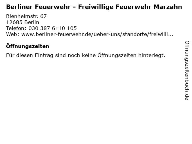 Berliner Feuerwehr - Freiwillige Feuerwehr Marzahn in Berlin: Adresse und Öffnungszeiten