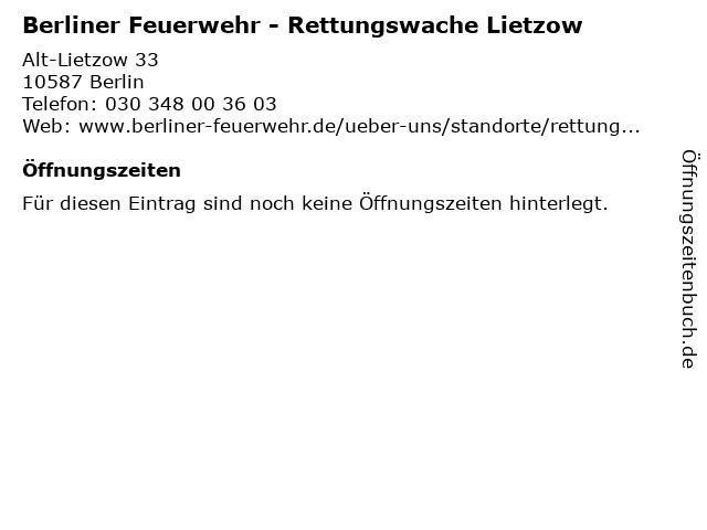 Berliner Feuerwehr - Rettungswache Lietzow in Berlin: Adresse und Öffnungszeiten