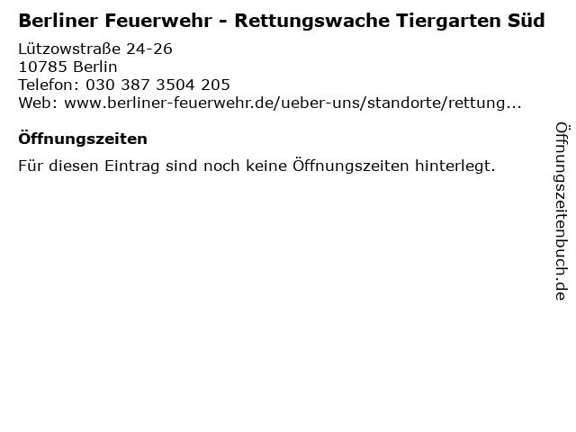 Berliner Feuerwehr - Rettungswache Tiergarten Süd in Berlin: Adresse und Öffnungszeiten