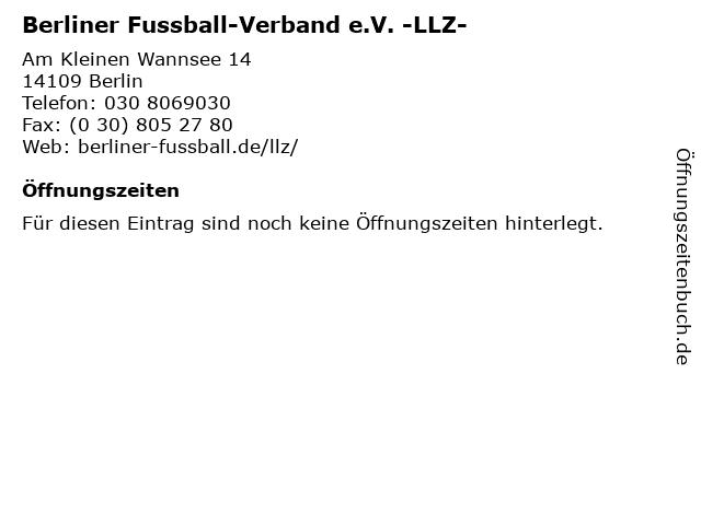 ᐅ öffnungszeiten Berliner Fussball Verband Ev Llz Am