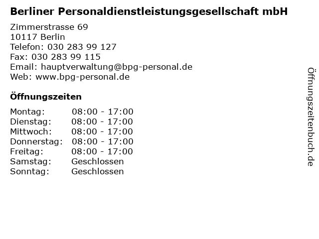 Berliner Personaldienstleistungsgesellschaft mbH in Berlin: Adresse und Öffnungszeiten