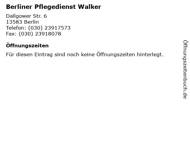 Berliner Pflegedienst Walker in Berlin: Adresse und Öffnungszeiten