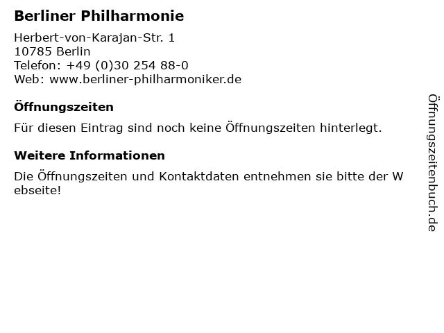 Berliner Philharmonie in Berlin: Adresse und Öffnungszeiten