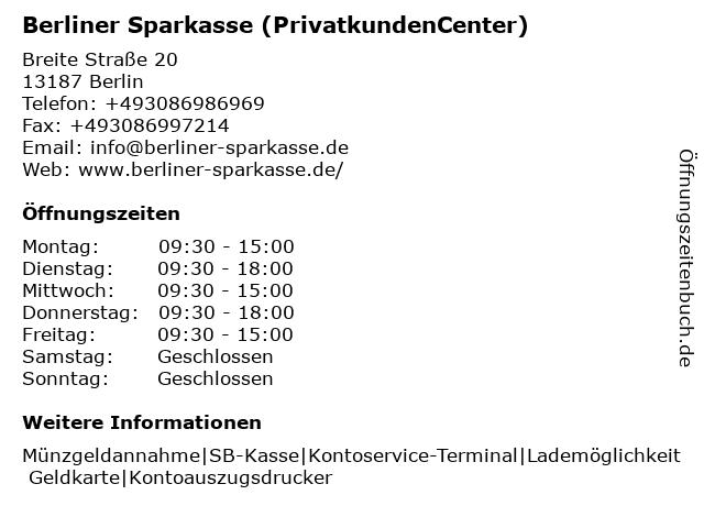 Berliner Sparkasse, PrivatkundenCenter Breite Straße Pankow (PKC 191) in Berlin: Adresse und Öffnungszeiten
