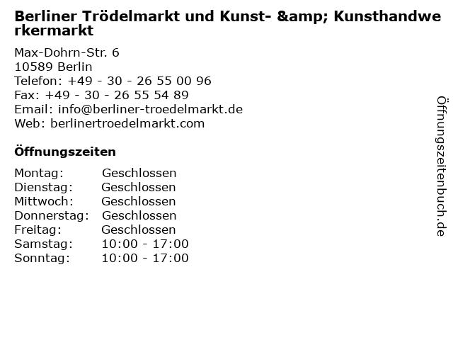 Berliner Trödelmarkt und Kunst- & Kunsthandwerkermarkt in Berlin: Adresse und Öffnungszeiten