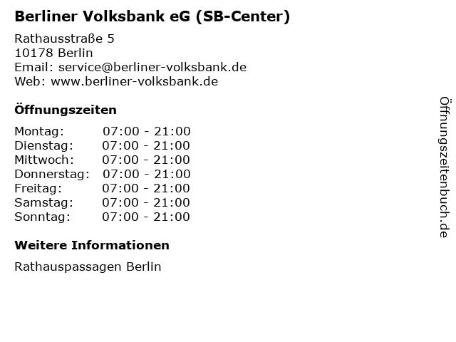 Berliner Volksbank eG (SB-Center) in Berlin: Adresse und Öffnungszeiten