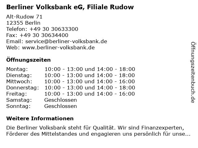 Berliner Volksbank eG, Filiale Rudow in Berlin: Adresse und Öffnungszeiten