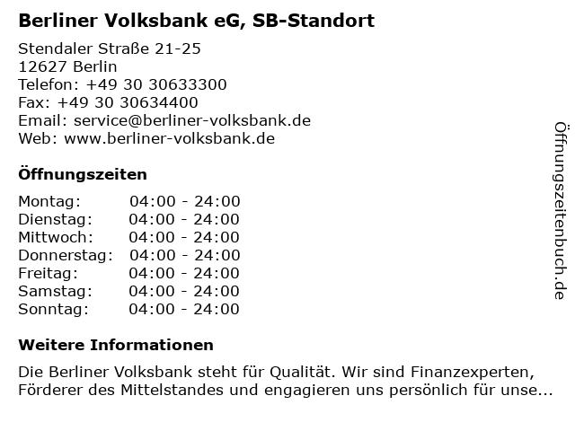 Berliner Volksbank eG, SB-Standort in Berlin: Adresse und Öffnungszeiten