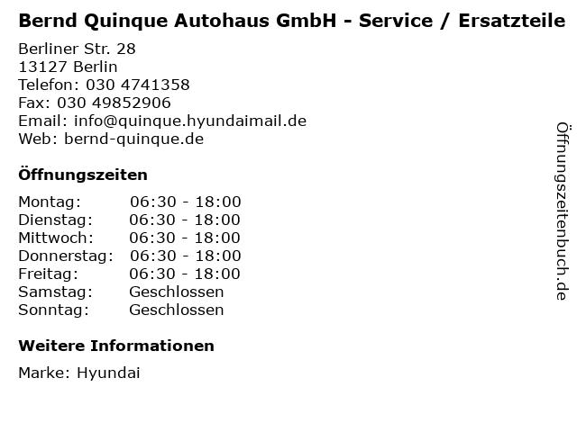 Bernd Quinque Autohaus GmbH - Service / Ersatzteile in Berlin: Adresse und Öffnungszeiten