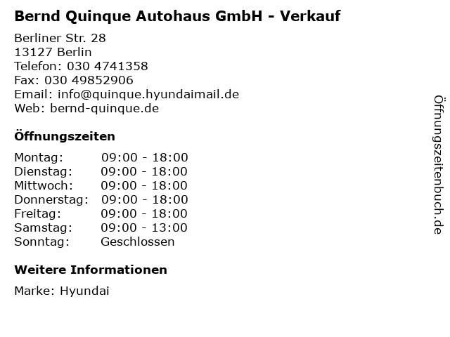 Bernd Quinque Autohaus GmbH - Verkauf in Berlin: Adresse und Öffnungszeiten