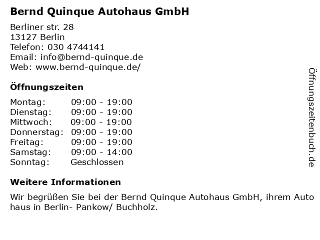 Bernd Quinque Autohaus GmbH in Berlin: Adresse und Öffnungszeiten