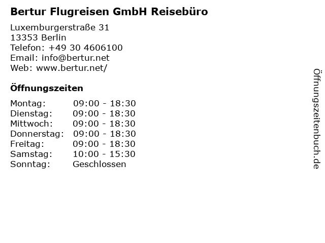 Bertur Flugreisen GmbH Reisebüro in Berlin: Adresse und Öffnungszeiten