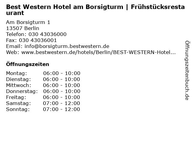ᐅ Offnungszeiten Best Western Hotel Am Borsigturm