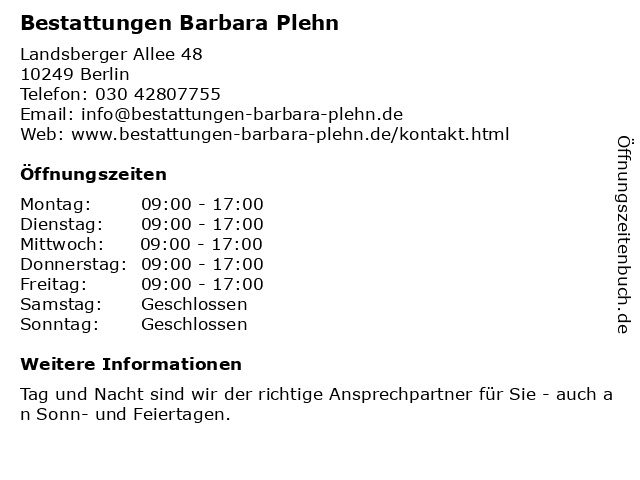 Bestattungen Barbara Plehn in Berlin: Adresse und Öffnungszeiten