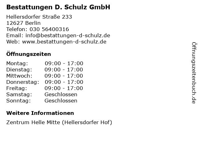 Bestattungen D. Schulz GmbH in Berlin: Adresse und Öffnungszeiten