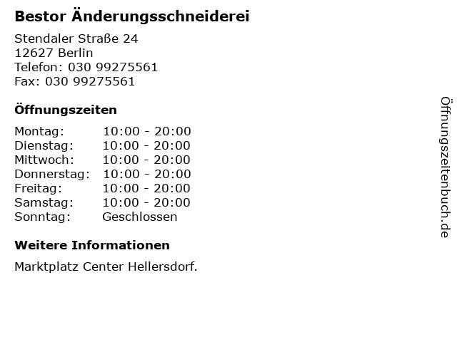 Bestor Änderungsschneiderei in Berlin: Adresse und Öffnungszeiten