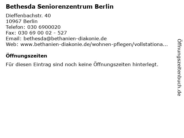 Bethesda Seniorenzentrum Berlin in Berlin: Adresse und Öffnungszeiten