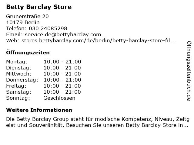 Betty Barclay Store in Berlin: Adresse und Öffnungszeiten