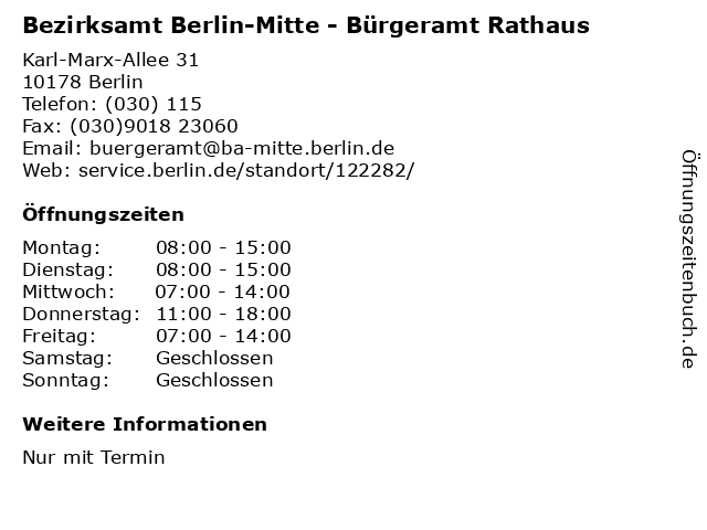 Bezirksamt Berlin-Mitte - Bürgeramt Rathaus in Berlin: Adresse und Öffnungszeiten