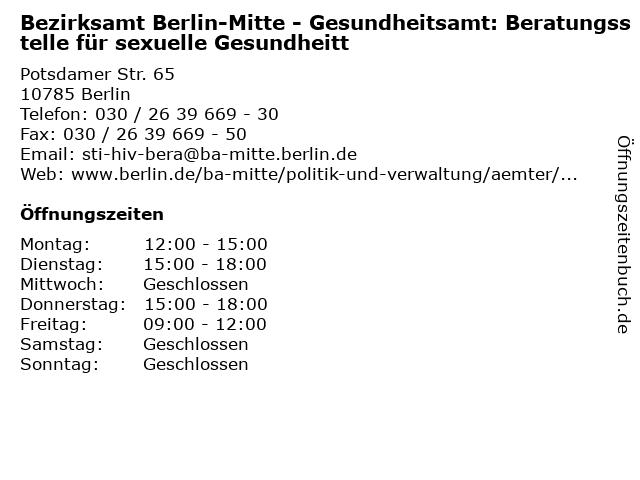 Bezirksamt Berlin-Mitte - Gesundheitsamt: Beratungsstelle für sexuelle Gesundheitt in Berlin: Adresse und Öffnungszeiten
