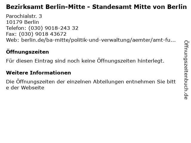 Bezirksamt Berlin-Mitte - Standesamt Mitte von Berlin in Berlin: Adresse und Öffnungszeiten
