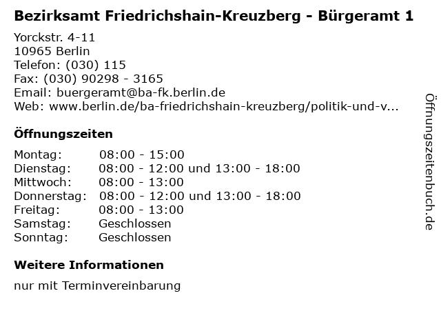 Bezirksamt Friedrichshain-Kreuzberg - Bürgeramt 1 in Berlin: Adresse und Öffnungszeiten