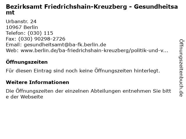 Bezirksamt Friedrichshain-Kreuzberg - Gesundheitsamt in Berlin: Adresse und Öffnungszeiten