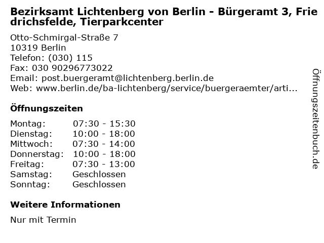 Bezirksamt Lichtenberg von Berlin - Bürgeramt 3, Friedrichsfelde, Tierparkcenter in Berlin: Adresse und Öffnungszeiten