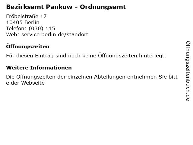 Bezirksamt Pankow - Ordnungsamt in Berlin: Adresse und Öffnungszeiten