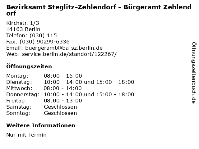 Bürgeramt Zehlendorf öffnungszeiten