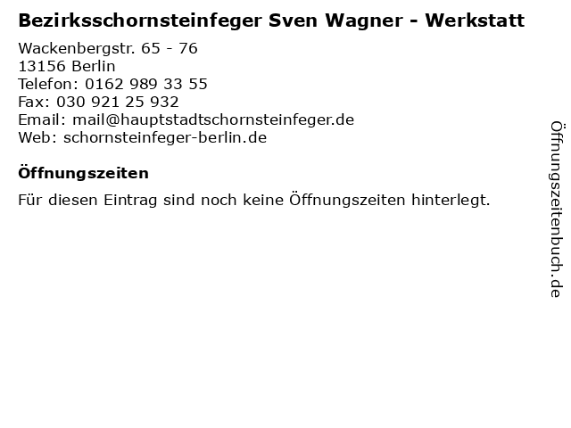 Bezirksschornsteinfeger Sven Wagner - Werkstatt in Berlin: Adresse und Öffnungszeiten