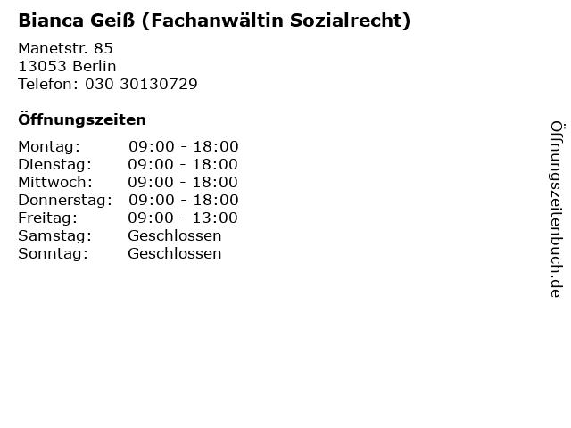 Bianca Geiß (Fachanwältin Sozialrecht) in Berlin: Adresse und Öffnungszeiten