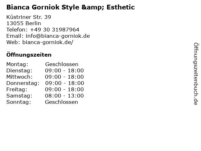 Bianca Gorniok Style & Esthetic in Berlin: Adresse und Öffnungszeiten