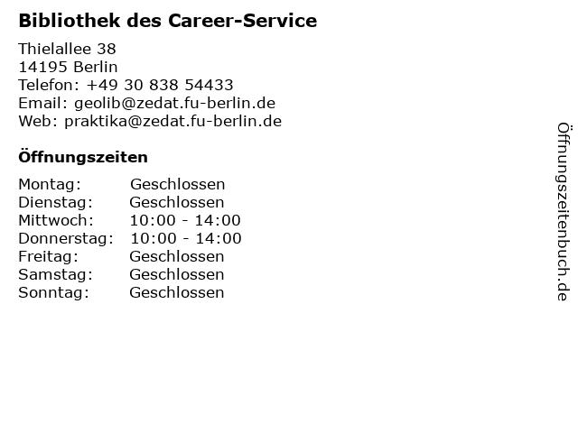 Bibliothek des Career-Service in Berlin: Adresse und Öffnungszeiten