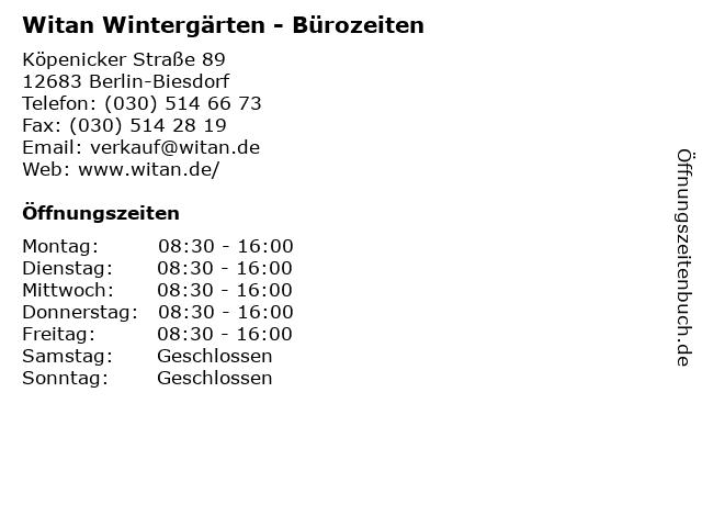 Witan Wintergärten - Bürozeiten in Berlin-Biesdorf: Adresse und Öffnungszeiten