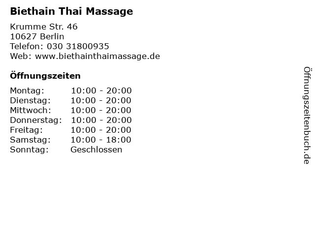 Biethain Thai Massage in Berlin: Adresse und Öffnungszeiten