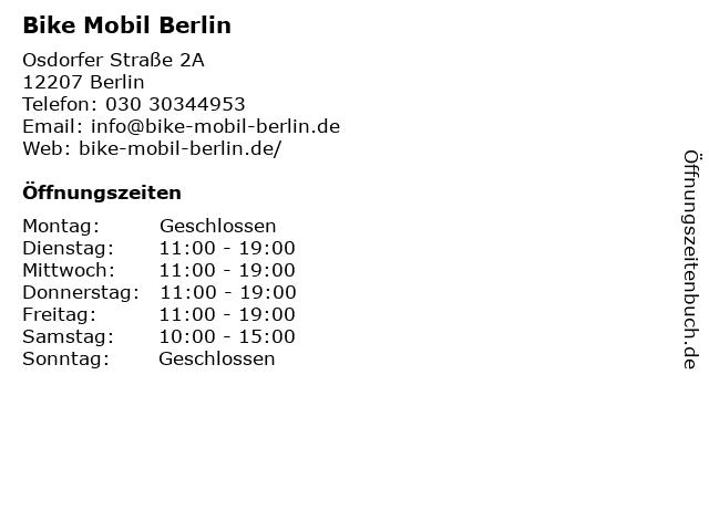 Bike Mobil Berlin in Berlin: Adresse und Öffnungszeiten