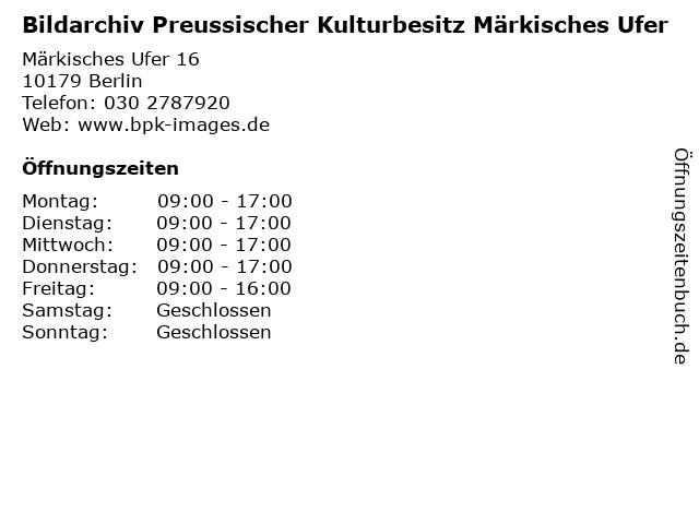 Bildarchiv Preussischer Kulturbesitz Märkisches Ufer in Berlin: Adresse und Öffnungszeiten