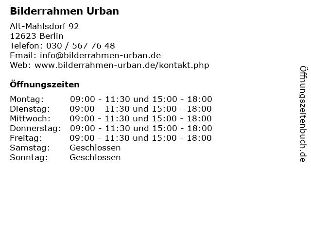 Bilderrahmen Urban in Berlin: Adresse und Öffnungszeiten