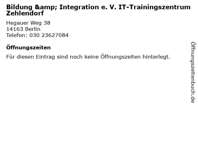 Bildung & Integration e. V. IT-Trainingszentrum Zehlendorf in Berlin: Adresse und Öffnungszeiten