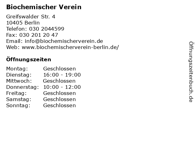 Biochemischer Verein in Berlin: Adresse und Öffnungszeiten