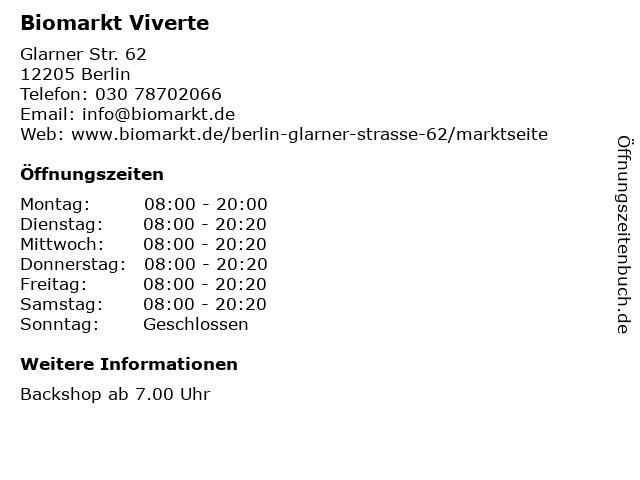 Biomarkt Viverte in Berlin: Adresse und Öffnungszeiten