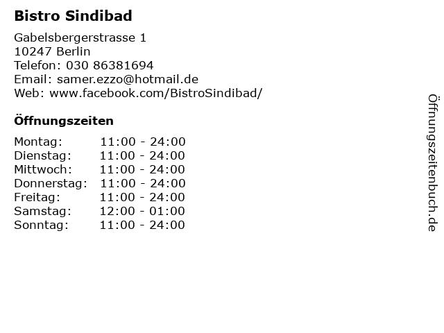 Bistro Sindibad in Berlin: Adresse und Öffnungszeiten